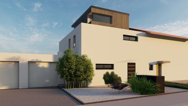 Architekturvisualisierung modernes Wohnhaus
