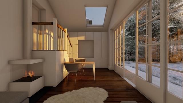 Architekturvisualisierung Kaminzimmer
